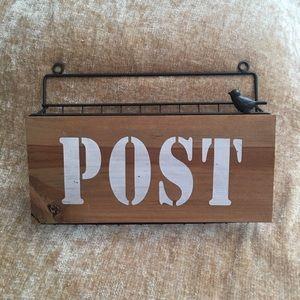 Rustic wall post mail metal wood farmhouse NEW